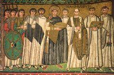 Justinian and His Attendants, Mosaic, San Vitale, Ravenna, c. 547