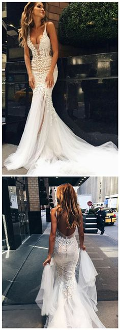 Luxurious Mermaid Long V-neck Wedding Dress with Open Back bridal dresses brodal gowns