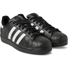 Adidas Originals Superstar Leather Sneakers ($80) ❤ liked on Polyvore featuring men's fashion, men's shoes, men's sneakers and men wear