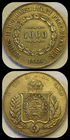 Brazil 1000 Reis 1866. Condition XF. For this and more coins from the Americas, visit Alba Coins. #braziliancoins #moedasbrasileiras