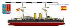 Perfiles navales.Crucero Protegido Almirante Oquendo 1895.El Almirante Oquendo y sus dos hermanos gemelos, el Infanta María Teresa y el Vizcaya eran versiones más grandes de la clase Orlando1 (según otros de la clase británica Galatea), que desplazaba 5 000 t, con un blindaje basado en el mismo principio y con una artillería más potente.