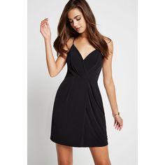 BCBGeneration Surplice Drape-Front Dress ($68) ❤ liked on Polyvore featuring dresses, black, faux-leather dress, sleeveless wrap dress, wrap dress, sleeveless v neck dress and bcbgeneration dresses