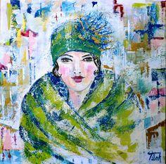 Frau im grünen Fellmantel
