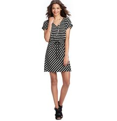 LOFT - Petite Striped Tie Waist Short Sleeve Dress. Bought this for Mexico. Fits so well