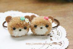 【毛糸のポンポン】くまさんのヘアゴム|Craft Cafe(クラフトカフェ)