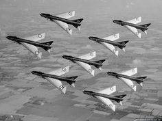 From 1963 the official aerobatic team of the Royal Air Force became the Firebirds which fly nine English Electric Lightning F.