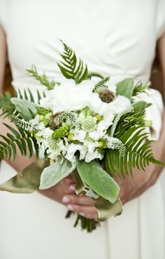 ferns, whites, and greens palette