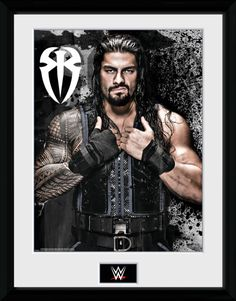 WWE - Romain Reigns Photo - Big Framed Collector Print. 25mm Moulding. Shatter…