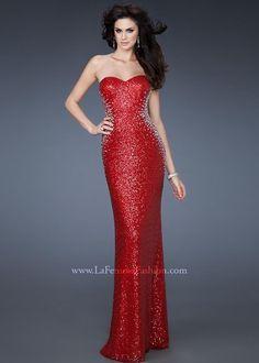 La Femme 18605 Red Sequin Dress