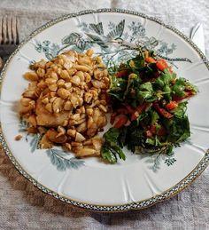 Svéd sült tõkehal mandulával, fokhagymával és hozzá spanyolos paprika saláta
