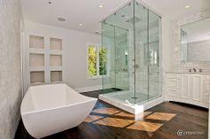 Hardwood, Marble - complex, Contemporary, Modern, Rain, Free Standing, Flat Panel