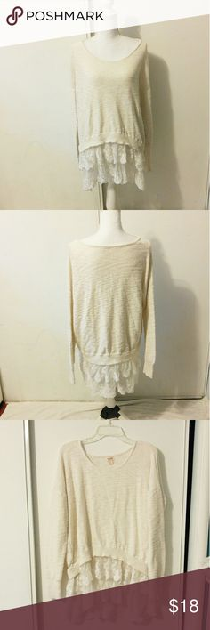 """Mossimo Supply Co white knit sweater BRAND: Mossimo Supply Co  SIZE: XL  FLAW: none  COLOR: White  DESCRIPTION: white knit sweater for Mossimo Supply Co with an asymmetrical lace hem. Nice and cozy sweater that works with just about any outfit  The mannequin measurements are:  Shoulders: 15"""" Chest: 34"""" Waist: 26.7"""" Hip: 35.4""""  Use #bishoujo to sort for your size. Please note I do have several pets, but all items will be washed before shipping  #mossimo #mossimosweater #sweater #knit…"""