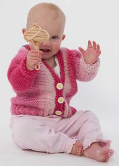 The Baby Venus Cardigan is a perfect practice project to whet your appetite for the adult Venus Rising Cardigan.  Knit in Kauni EE-Candyfloss.