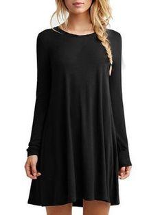 4ea7bbd5089c8 Long Sleeve Crew Neck Casual Flounce Dress Winter Dresses
