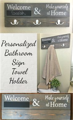 Make a personalized sign to welcome your overnight guests. A chalkboard area to write your guests' name(s) and robe hooks to hang their towels. An easy DIY made from a 1x6 and a 1x4.
