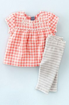 Mini Boden Embroidered Top & Stripe Leggings Set (Baby Girls & Toddler Girls) So cute for head shots if you break up the gingham with something like a blue cardigan. Baby Outfits, Little Girl Outfits, Little Girl Fashion, Toddler Outfits, Kids Outfits, Toddler Girls, Baby Girls, Mini Boden, Baby Boy Leggings