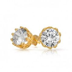 Bling Jewelry Mens Gold Vermeil Round CZ Crown Sterling Silver Stud Earrings