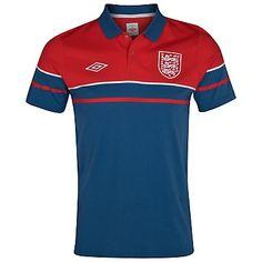 England Media Polo - Vermillion / Dark Blue / White £35.99