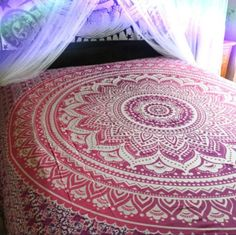 Indian Hippie Bohemian Psychedelic Ombre Mandala Wall hanging Tapestry Purple-Pink Twin Size Home Decor Tapestry *** You can find out more details at the link of the image. (This is an affiliate link and I receive a commission for the sales) Hippie Bedding, Bohemian Bedspread, Bohemian Tapestry, Boho Bedding, Hippie Bohemian, Hippie Dorm, Luxury Bedding, Bohemian Dorm, Hippie Tapestries