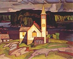 Anglican Church at Magnetawan. Casson Canadian, Member of The Group of Seven 1898 - 1992 Emily Carr, Group Of Seven Artists, Group Of Seven Paintings, Canadian Painters, Canadian Artists, Landscape Art, Landscape Paintings, Tom Thomson Paintings, Ontario