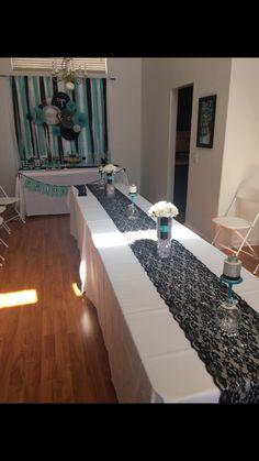 Breakfast At Tiffany's Themed Bridal Shower.      Tiffany blue. Black lace. Diamonds. Mimosa bar. Dessert table. Backdrops. Bridal Shower. Weddings. Maid of honor. Ideas. Brunch.