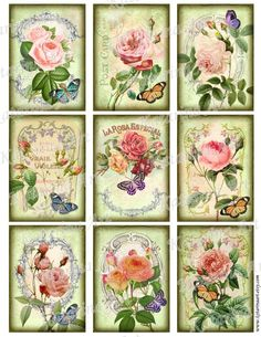 vintage french roses prints