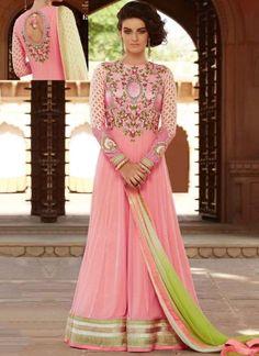 Pink Embroidery Work Net Chiffon Designer Long Fancy Anarkali Gown Suit         #Anarkali #Churidar #Pakistani #Suit #Salwar #Bollywood       http://www.angelnx.com/Salwar-Kameez