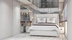 #bedroom #white #mirrors #interiordesiign