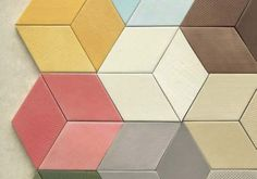 Colorful but still neutral diamond tiles. Looks great!