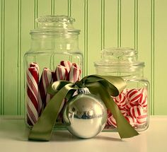 """Eye Candy"" Quick DecoratingTip! Find vintage (thrift store) glass lidded jars (or mason jars) and add peppermint sticks from"