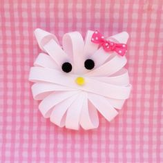 White Kitty Ribbon Sculpture Hair Clip - Toddler Hair Bows - Girls Hair Accessories.. Free Shipping Promo of 15 Dollars or More. $3.75, via Etsy.