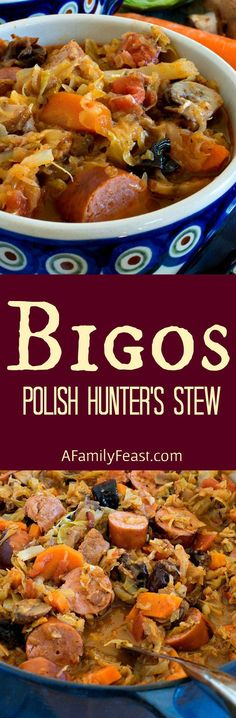 Bigos (also known as Polish Hunter's Stew) is a hearty delicious dish made with meat, cabbage, sauerkraut and vegetables. Bigos (also known as Polish Hunter's Stew) is a hearty delicious dish made with meat, cabbage, sauerkraut and vegetables. Chicken Tender Recipes, Pork Recipes, Mexican Food Recipes, Cooking Recipes, Hamburger Recipes, Ethnic Recipes, Cabbage Recipes, Shrimp Recipes, Recipies