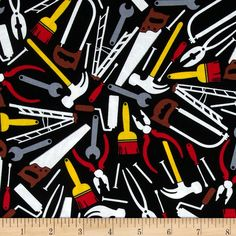 Kanvas Under Construction Tool Shed Black from @fabricdotcom  Designed by Greta Lynn of Kanvas for Benartex Fabrics, this cotton print is perfect for quilting and craft projects as well as apparel and home décor accents. Colors include white, grey, red, brown, yellow and black.