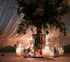Wedding Venue, Marquee Wedding, Green Theme, Flowers, Shipley, West Yorkshire, Rustic, Mirrors, Jam Jars, Candles, Centre Pieces