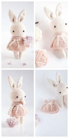 Crochet Bunny Pattern, Crochet Toys Patterns, Stuffed Toys Patterns, Crochet Baby Toys, Crochet Animals, Knit Crochet, Rabbit Toys, Yarn Colors, Beautiful Crochet
