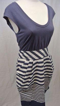 Little Yellow Button Anthropologie Blue White Striped Dress Pockets Size SMALL  #LittleYellowButton #Casual