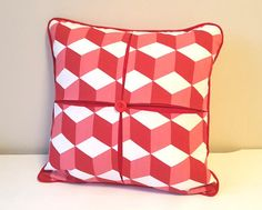 """Christmas Red Decorative Pillow, Box Pleated Cushion Cover, 18x18"""" Throw Pillow, Printed Cotton Pillow, Square Cushion Cover"""