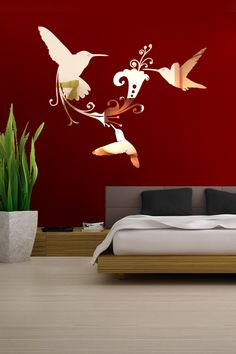 Hummingbird Reflective Wall Decal by WALLTAT.com
