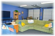 """Finished game room with ping-pong, 55"""" TV, games, dining area & more"""