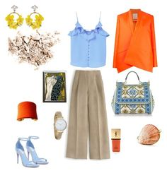 """""""Peacock in orange"""" by futuraocculto ❤ liked on Polyvore featuring J.Crew, Dolce&Gabbana, MANGO, Maison Rabih Kayrouz, Yves Saint Laurent, UNEARTHED, Rachel Zoe, VANINA, Fjord and EARTH TU FACE"""