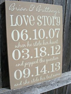 PERSONALIZED - Important Date Sign, Wedding Gift , Anniversary,, Family Gift - Special Dates. $34.95, via Etsy.