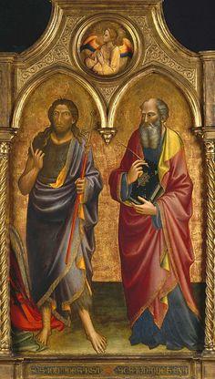 Мариотто ди Нардо (раб во Флоренции 1394-1424) - Иоанн Креститель и Иоанн Евангелист (99х76 см) 1408. Музей Гетти (J. Paul Getty Museum)