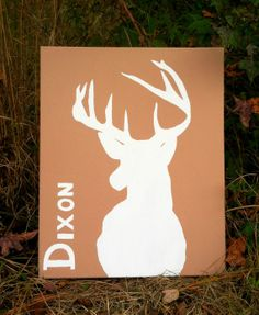 Handpainted Deer Head Silhouette on Canvas - Personalized Canvas Art - Painted Deer Silhouette - Deer Head by PraisingHimCreations - only $52.00!