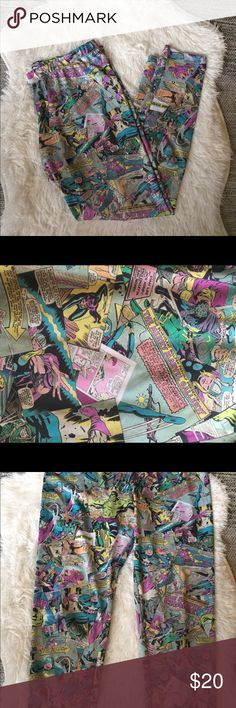 Marvel leggings size x large This pit of marvel leggings are a size x large . They are in great shape with no stains or holes Marvel Pants Leggings