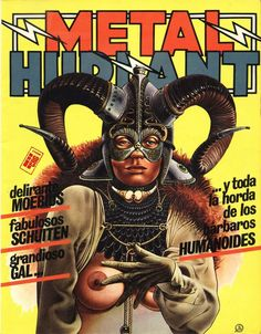 metal hurlant Arte Heavy Metal, Heavy Metal Comic, Heavy Metal Girl, Metal Art, Metal Magazine, Magazine Art, Magazine Covers, Frank Margerin, Dark Fantasy
