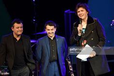 James Dean Bradfield, Sean Moore and Nicky Wire of the Manic Street Preachers speak on stage at the 26th annual Music Industry Trust Awards held at The Grosvenor House Hotel on November 6, 2017 in London, England.