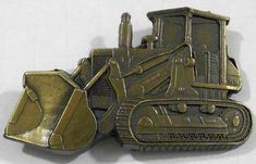 This vintage cut-out brass Fiat Allis track loader belt buckle would be a great addition to a collection or make a perfect gift. Brass Belt Buckles, Vintage Belt Buckles, Vintage Theme, Vintage Farm, Dude Perfect, Pewter Color, Heavy Machinery, Tractor Parts