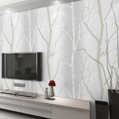 Designer Home Room Modern Wallpaper For Walls Roll Birch Tree Mural TV…