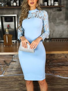 Light blue sheath dress fashion prom dress with neck lace, Shop plus-sized prom dresses for curvy figures and plus-size party dresses. Ball gowns for prom in plus sizes and short plus-sized prom dresses for Robe Bodycon, Bodycon Dress With Sleeves, Sheath Dress, Look Fashion, Womens Fashion, Fashion Trends, Fall Fashion, Trending Fashion, Vetement Fashion