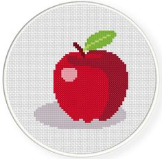 FREE for Jan 28th 2015 Only - Simple Apple Cross Stitch Pattern